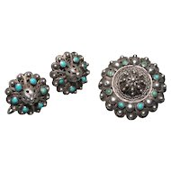 Antique Silver Filigree Turquoise Brooch & Earrings