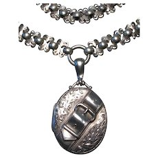 Victorian Sterling Buckle Locket and Silver Bookchain