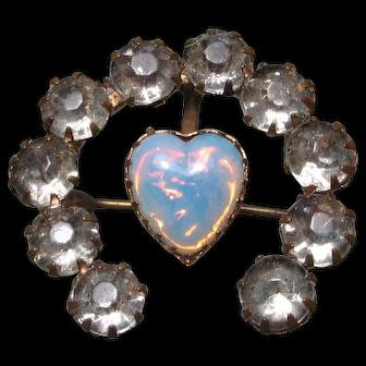 Victorian Opaline Heart Paste Gilt Brooch