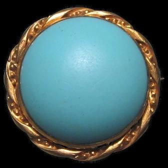 Victorian Pate De Verre Turquoise Glass Gilt Brooch