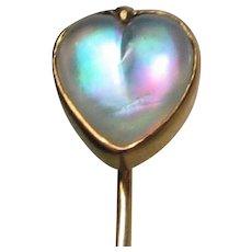 Victorian Rainbow Moonstone Opalescent Heart Pin