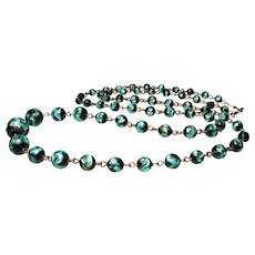 Early Czech Foil Glass Bead Necklace
