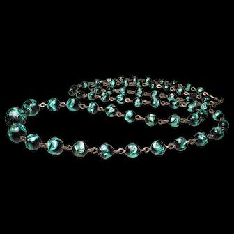 Early Czech Foil Glass Bead Necklace