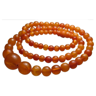 Antique Butterscotch Egg Yolk Amber Bead Necklace