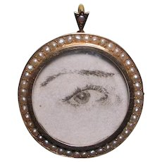 Antique Victorian 15ct Gold Seed Pearl Locket