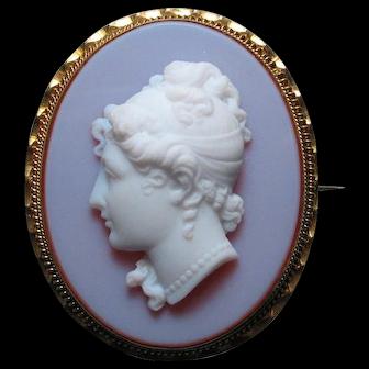 Rare Antique Pate de Verre Opaline Sardonyx Glass Cameo Pinchbeck
