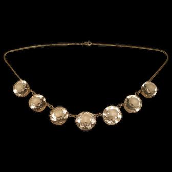 Antique Large Faceted Crystal Gilt Sterling Necklace