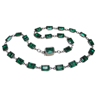 Antique Georgian Emerald Paste Sterling Silver Riviere Necklace
