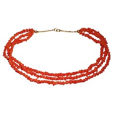 Antique 14ct Gold Georgian Coral Carved Bead Necklace