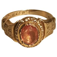 Georgian Foil Back Stone Engraved Mourning Ring