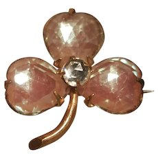 Antique Saphiret Paste Rose Cut Clover Leaf Brooch