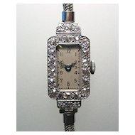 Superb Antique Platinum Diamond Ladies Watch Art Deco