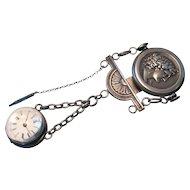 Victorian Large Globe Ball Watch Niello Chatelaine c1855