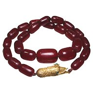 Georgian Paste Pinchbeck Snake Clasp, Bakelite Cherry Red Amber Bead Necklace
