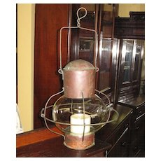 Early Bubble Glass and Copper Candle Lantern