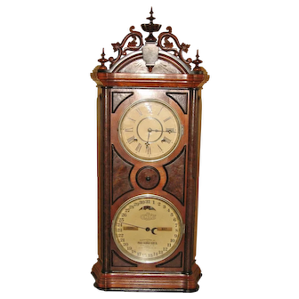 Rare Ithaca Emerald Double Dial Calendar Clock