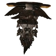 Antique Black Forest Hand Carved Clock Shelf Carved Eagle