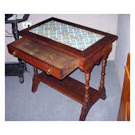 Minton Tile Top Walnut Washstand / Table W/ Drawer 1840's