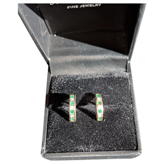 Emerald and Diamond Earrings 9ct Gold