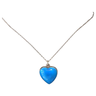 Beautiful Peacock Blue Enamel Heart on Sterling Silver