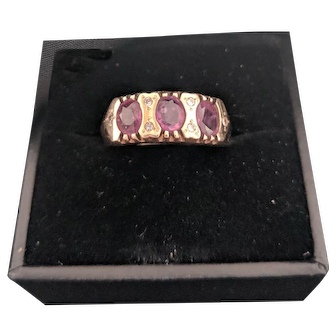 Ruby and Diamond Ring 9ct Gold