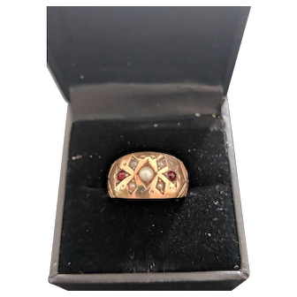 Cultured Seed Pearl and Garnet Cigar band Ring 10ct Gold