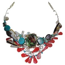 Turquoise and Coral on Sterling Silver Necklace