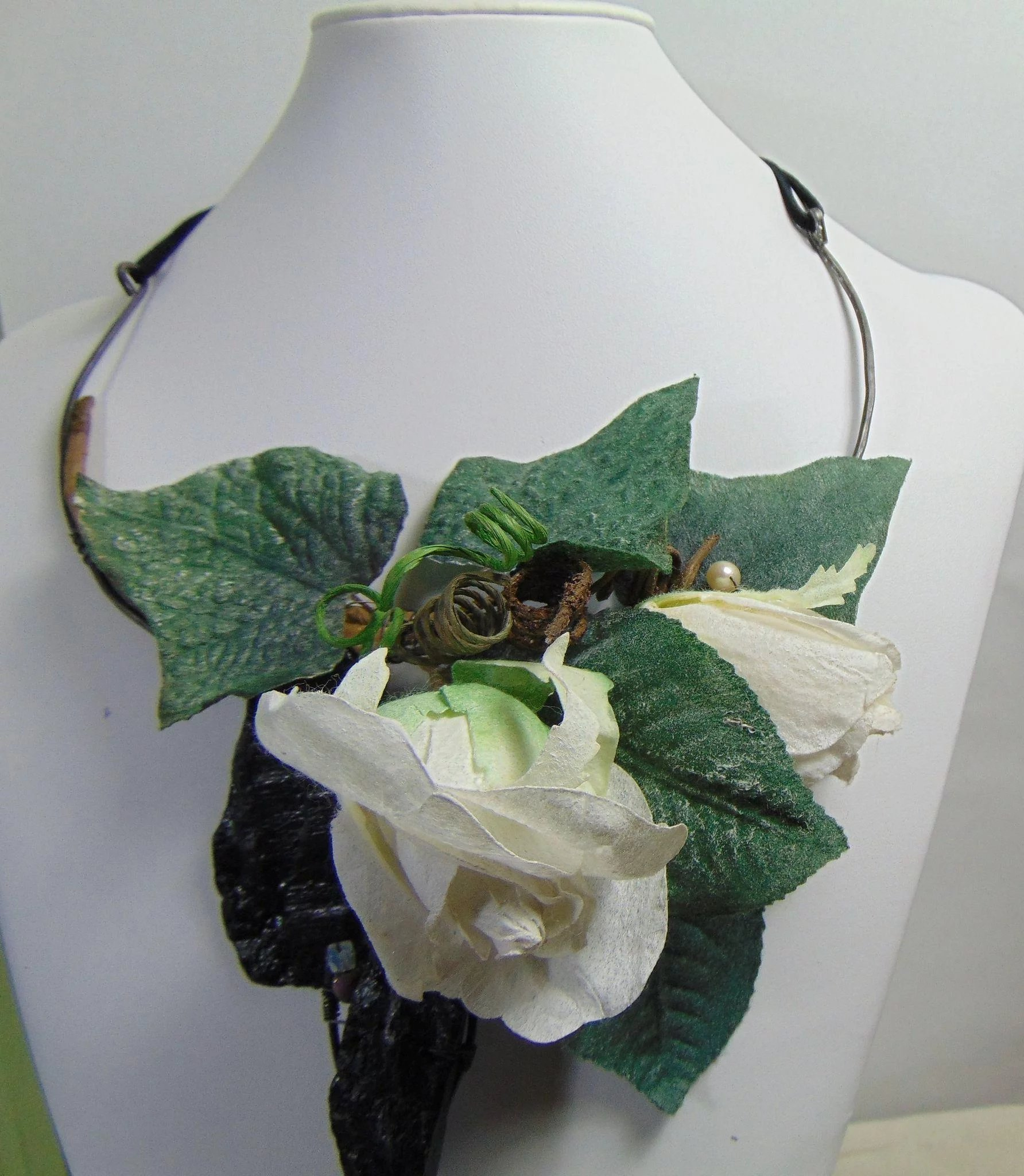 Rock paper flowers n annealed steel necklace lahoote jewelry rock paper flowers n annealed steel necklace click to expand mightylinksfo Gallery