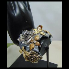 Mixed Metals on Painted Leather Cuff Bejeweled