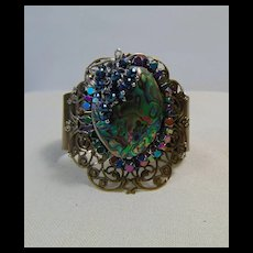 Sterling Silver Set Abalone n Hematite on Brass Cuff