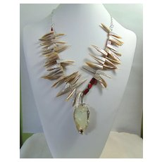 Brutilist Sterling Silver Set Raw Quartz Necklace