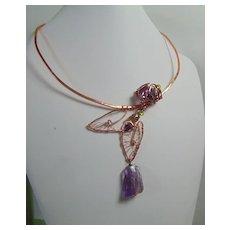 Hand Wrought Copper Choker w Amethysts n Labradorite