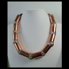 Copper Tube w Art Bead Necklace