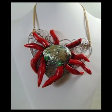 Red Coral n Abalone 'Crab' Bib Style Necklace