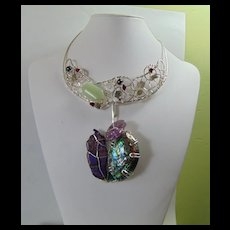Eve's Apple 3 in One Sterling Silver Bejeweled Necklace.