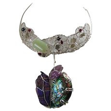 Sculpted Sterling Silver Bejeweled Collar w Detachable Abalone and Amethyst Pendant.