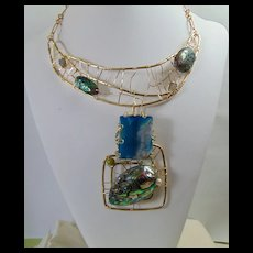 3 in One Brutalist Sculpted Brass Necklace w Abalone n Agate Plus.