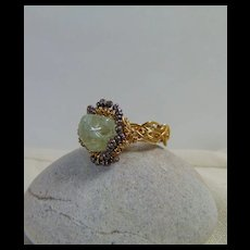 14GF Woven Aquamarine n Tiny Cultured Freshwater Pearl Ring
