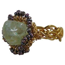 14GF Woven Aquamarine n Tiny Cultured Freshwater Pearl Ring