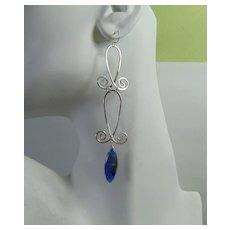 Long Dangle Kyanite and Sterling Silver Earrings