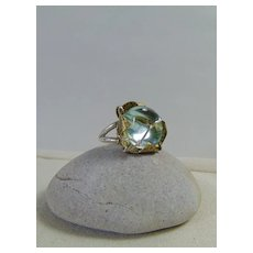 Aqua Glass Nugget in Brass n Sterling Silver Ring