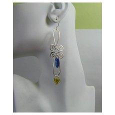 Kyanite n Peridot long Sterling Silver Dangle Earrings,