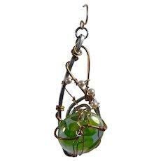 Mixed Metal w Glass Cabochon n Swarovski Crystal Pearls