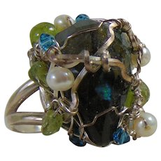 Sterling Silver Ring w Labradorite, Peridot and Cultured Freshwater Pearls