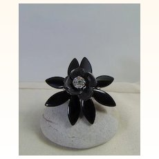Big Black Flower Adjustable Ring