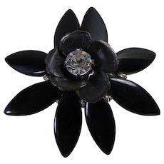Big Black Flower Adjustable Ring