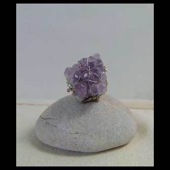 Raw Amethyst on Sterling Silver Ring