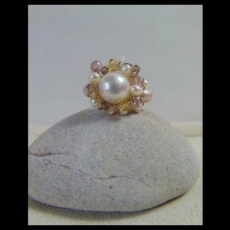 Cultured Freshwater Pearls w Swarovski on Sterling Silver Ring