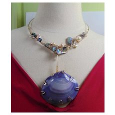 Mixed Media Abalone and Cultured Freshwater Pearl Necklace w Lavender Shell Pendant