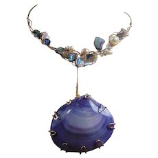 Mixed Media Abalone and Cultured Freshwater Pearl Necklace w Detachable Lavender Shell Pendant